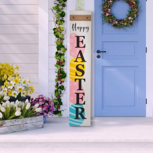 Glitzhome Happy Easter Wooden Porch Sign Perspective: left