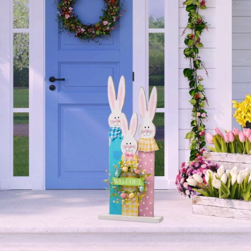 Glitzhome Easter Bunny Family Wooden Welcome Standing Sign Perspective: left