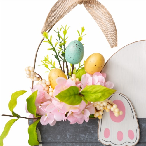 Glitzhome Wooden Easter Bunny Eggs and Bucket Hanging Wall Decor Perspective: left