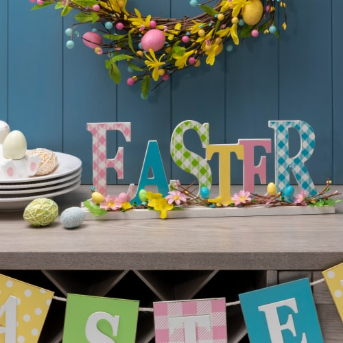 Glitzhome Plaid Easter Wooden Table Decoration Perspective: left