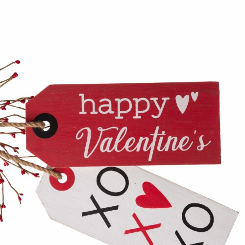 Glitzhome Valentine's Day Door Hanging Decor - Red/White Perspective: left