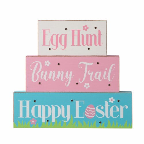 Glitzhome Easter LED Lighted Wooden/Metal Block Word Sign Perspective: left
