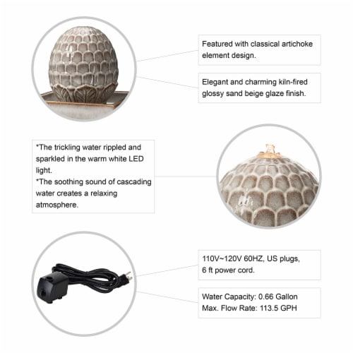 Glitzhome Ceramic Sphere Pedastal Outdoor Fountain - Ivory Perspective: left