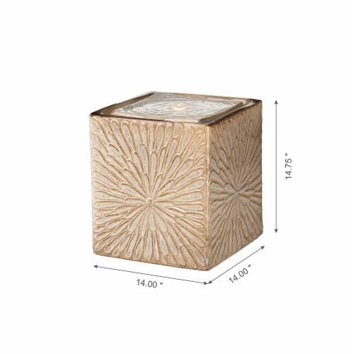 Glitzhome Ceramic Square Pot Outdoor Fountain Perspective: left