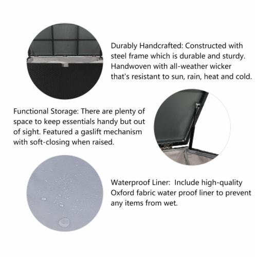Glitzhome Outdoor Patio Garden Wicker Storage Deck Box - Black Perspective: left