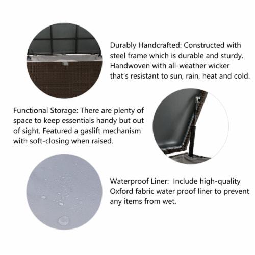 Glitzhome Outdoor Patio Garden Wicker Storage Deck Box - Brown Perspective: left