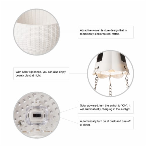 Glitzhome Solar Light Plastic Hanging Planter - White Perspective: left