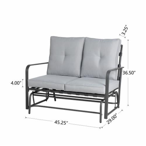 Glitzhome Outdoor Patio Garden Loveseat Glider Chair - Gray Perspective: left