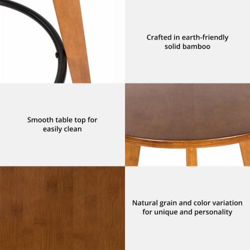 Glitzhome Midcentury Modern Round Natural Bamboo Bar Table Perspective: left