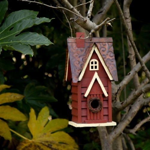 Glitzhome Hanging Distressed Wooden Cottage Birdhouse - Red Perspective: left