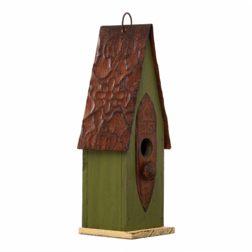 Glitzhome Hanging Distressed Wooden Garden Birdhouse - Green Perspective: left