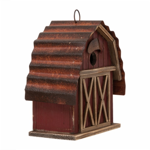 Glitzhome Hanging Wood Red Barn Outdoor Bird House Perspective: left