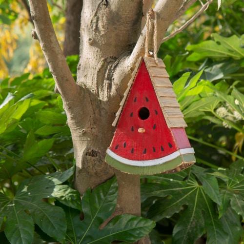 Glitzhome Hanging Wooden Watermelon Decorative Garden Birdhouse Perspective: left