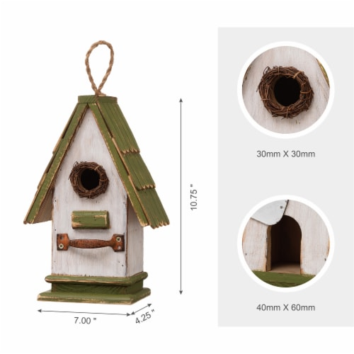 Glitzhome Hanging Wooden Green Roof Decorative Garden Birdhouse Perspective: left