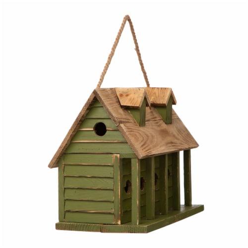 Glitzhome Hanging Wooden Distressed Garden Birdhouse - Green Perspective: left