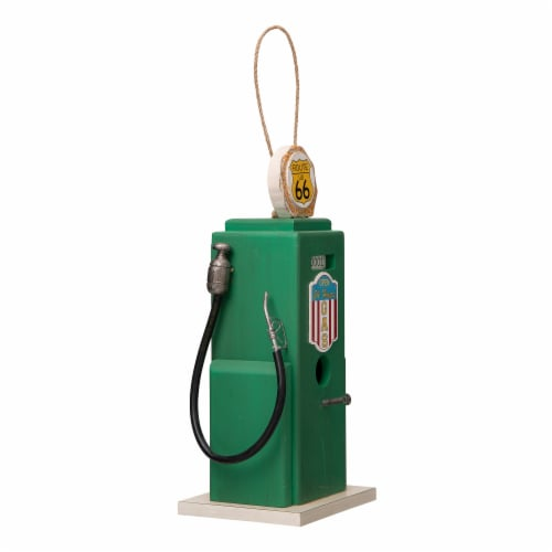 Glitzhome Hanging Wood Gas Pump Birdhouse - Green Perspective: left