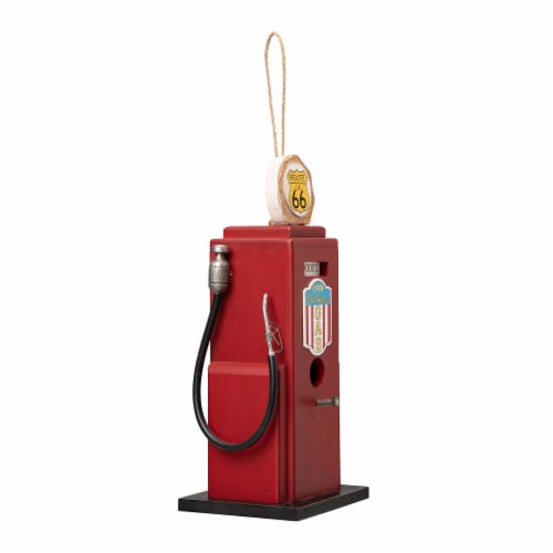Glitzhome Hanging Wood Gas Pump Birdhouse - Red Perspective: left