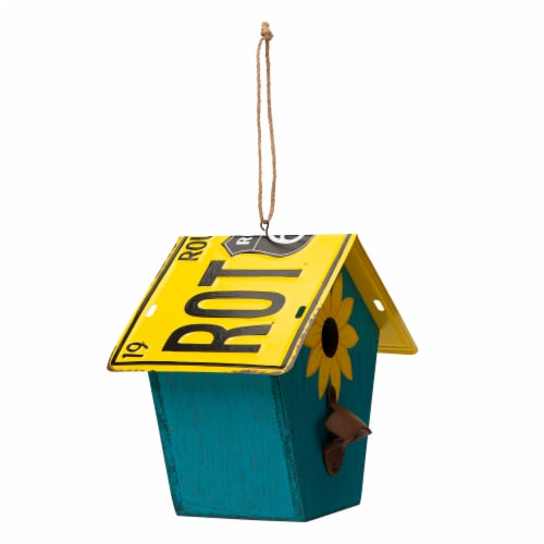 Glitzhome Wooden and Metal License Plate Birdhouse - Blue/Yellow Perspective: left