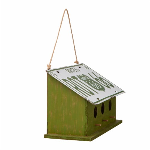 Glitzhome Hanging Wooden and Metal License Plate Garden Birdhouse - Green/White Perspective: left