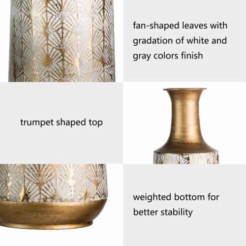 Glitzhome Vintage Trumpet Shaped Metal Vases - Gold/White Perspective: left