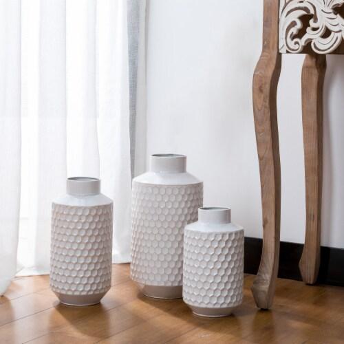 Glitzhome Farmhouse Decorative Beehive Metal Vases - White Perspective: left
