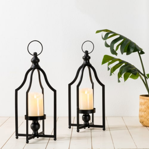 Glitzhome Modern Farmhouse Metal Decorative Lantern - 2 Pack - Black Perspective: left