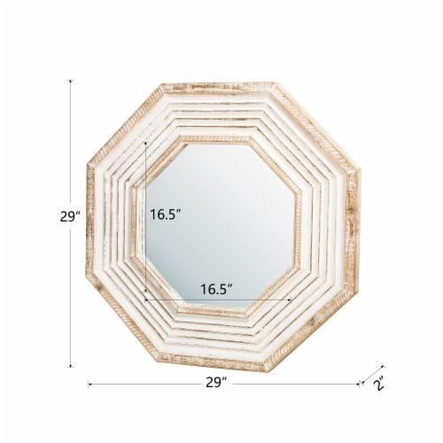 Glitzhome Vintage Modern Octagonal Wooden Wall Mirror Perspective: left