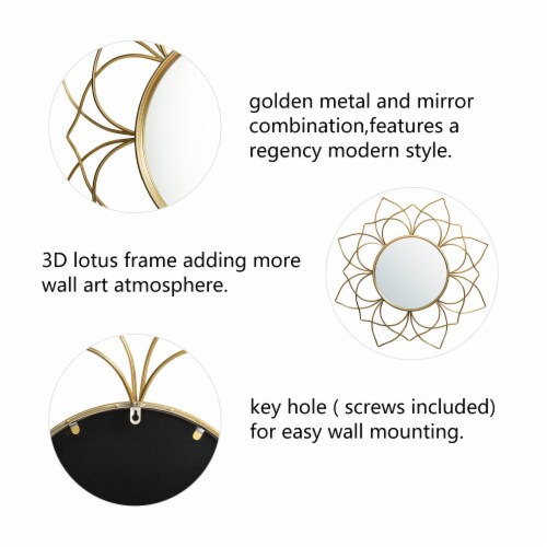 Glitzhome Oversized Modern Glam Lotus Wall Mirror - Gold Perspective: left