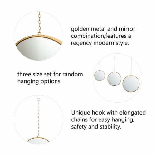 Glitzhome Regency Modern Gold Metal Chain Hanging Mirrors Perspective: left