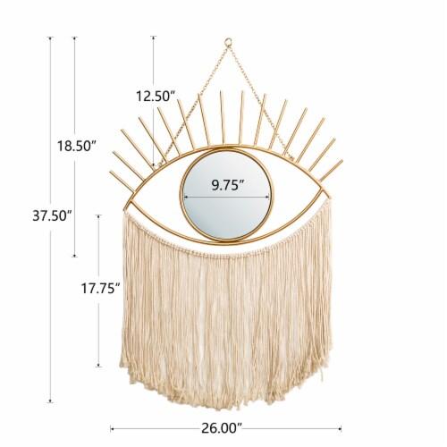 Glitzhome Regency Modern Boho Metal Eye Mirror with Tassels Perspective: left