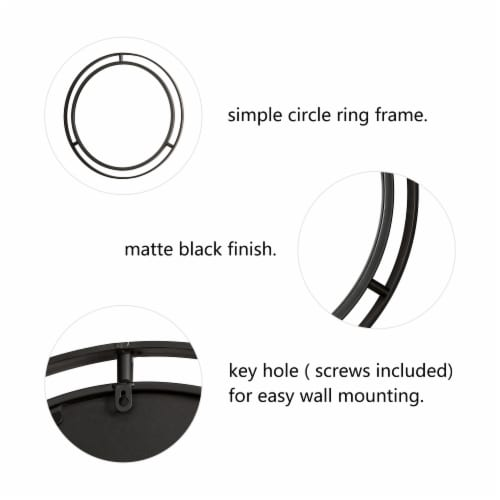 Glitzhome Deluxe Metal Round Wall Mirror - Black Perspective: left
