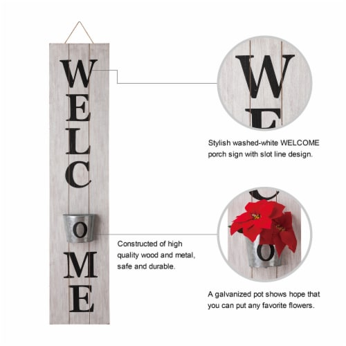 Glitzhome Wooden Welcome Porch Sign with Metal Planter - White Perspective: left