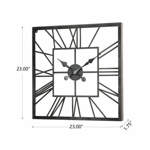 Glitzhome Modern Industrial Metal Square Wall Clock - Black Perspective: left
