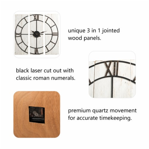 Glitzhome Oversized Farmhouse Round Wall Clock Perspective: left