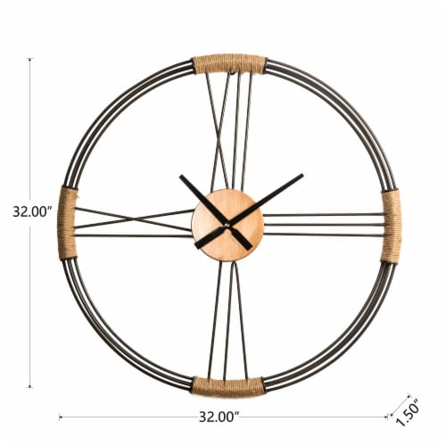 Glitzhome Oversized Modern Farmhouse Round Wall Clock Perspective: left