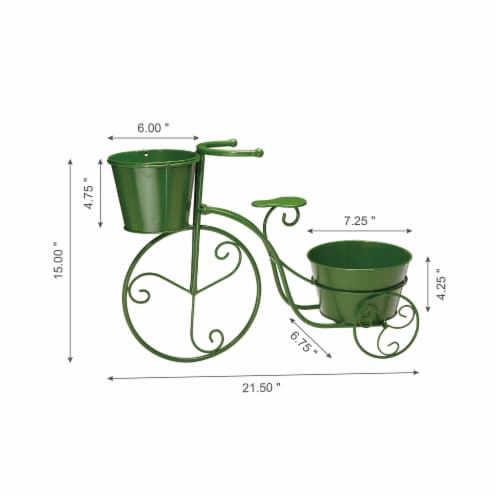 Glitzhome Metal Bicycle Pot Standd - Green Perspective: left