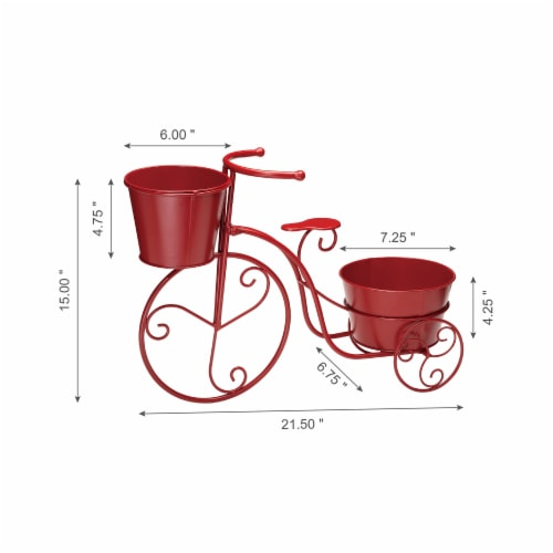 Glitzhome Metal Bicycle with Pots Plant Stand - Red Perspective: left