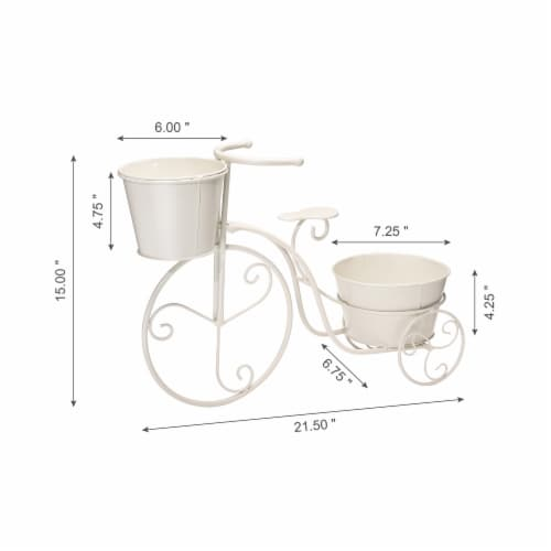Glitzhome Metal Bicycle Plant Stand - White Perspective: left