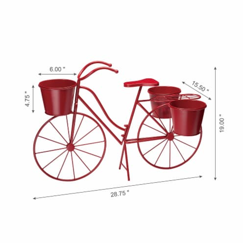 Glitzhome Oversized Metal Bicycle with Pots Plant Stand - Red Perspective: left