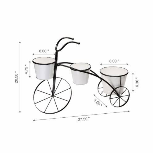 Glitzhome Metal Enamel Bicycle Planter Stand - Black/White Perspective: left