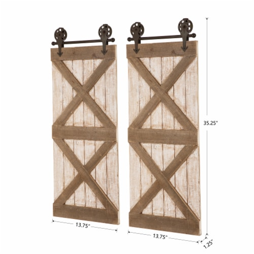 Glitzhome Farmhouse Wooden Barn Door Wall Decor Perspective: left
