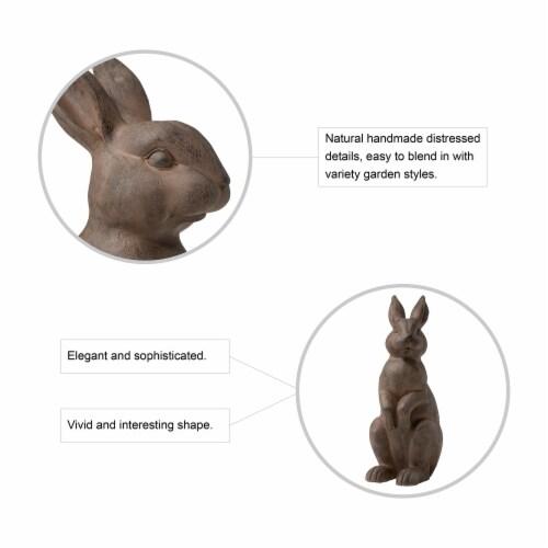 Glitzhome Light Weight Standing Rabbit Outdoor Garden Statue Perspective: left