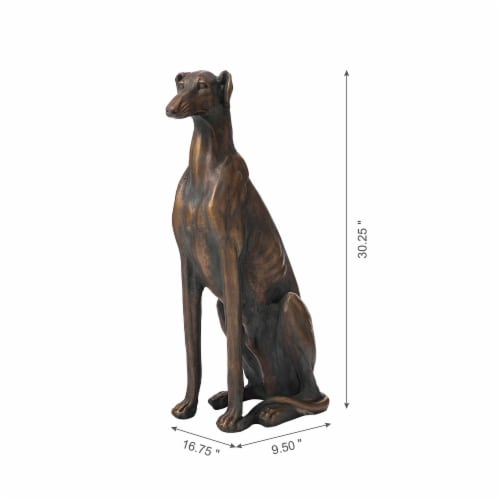 Glitzhome Sitting Greyhound Dog Statue Perspective: left