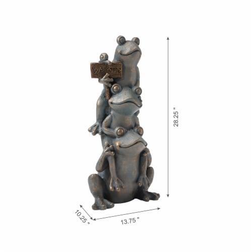 Glitzhome Stacked Frog Statue - Bronze Perspective: left