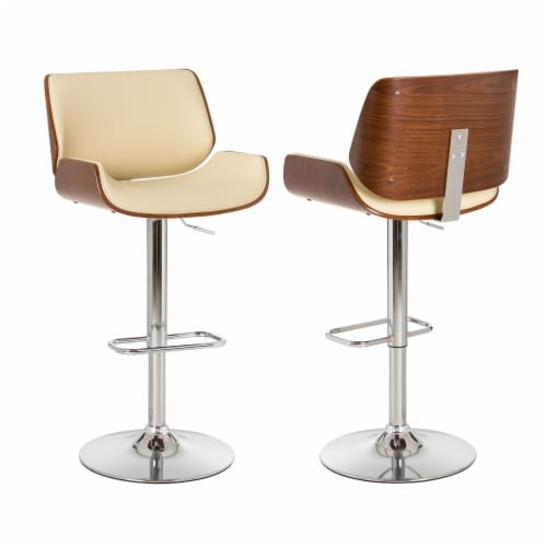 Glitzhome Adjustable Height Swivel Bar Stools - Beige Perspective: left
