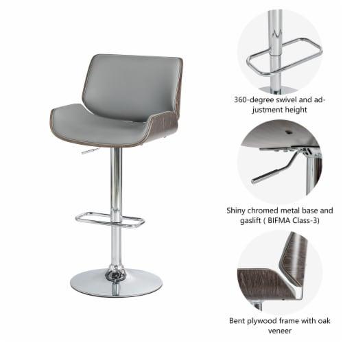 Glitzhome Mid-Century Modern Adjustable Height Swivel Bar Stool - Gray Perspective: left
