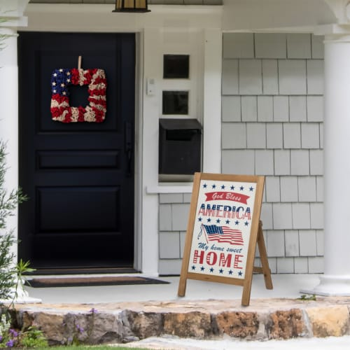 Glitzhome Patriotic Wooden Porch Sign Standing/Hanging Decor Perspective: left