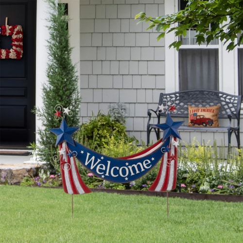 Glitzhome Patriotic Welcome Metal Yard Stake/Wall Sign Perspective: left