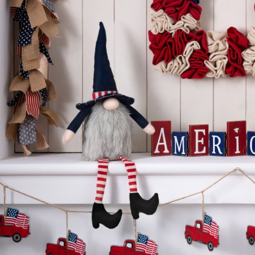 Glitzhome Patriotic Stuffed Fabric Mantel Sitter Gnome Perspective: left