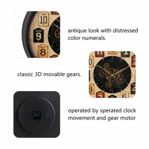 Glitzhome Oversized Vintage Round Gear Clock Perspective: left